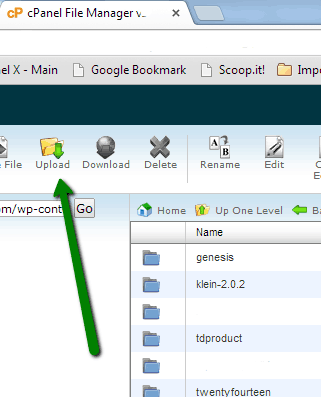 uploading the theme from to cPanel